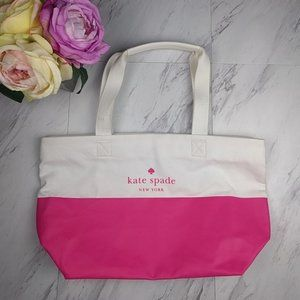 Kate Spade Pink Beige Canvas and Leather Tote
